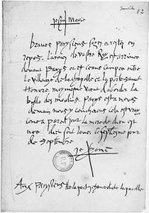 Lettre de Jeanne d'Arc aux Parisiens