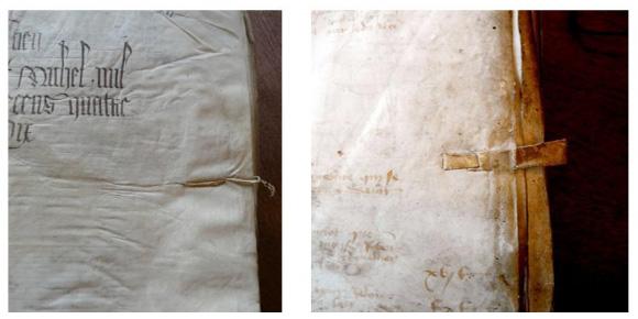signets de gouttière : ficelle à gauche, bande de cuir à droite. Sources :  http://comptabilites.revues.org/529