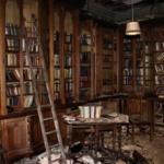 La bibliothèque du Manoir abandonné Berkyn en Angleterre
