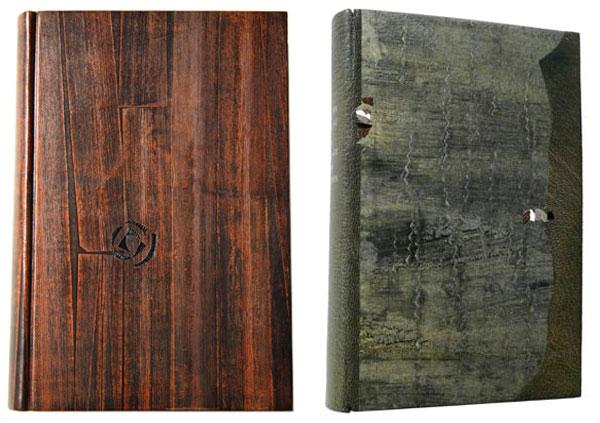 Créations Annick Vatant, travail sur du veau teinté avec impression de bambou, mosaique de cuir et papier.