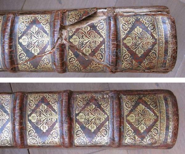 Dos restauré par Annick VATANT, l'Atelier du Chapitre