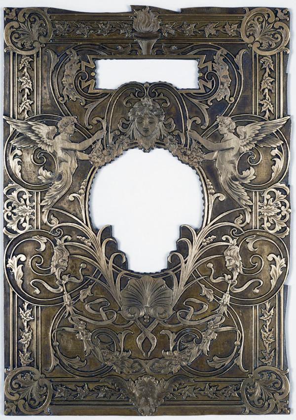 Plaque à gaufrer, exposition cartonnages romantiques, BM de Lyon